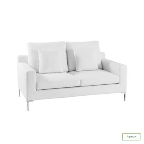 WHITE DOUBLE SEATER SOFA