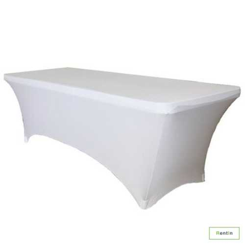 RECTANGULAR TABLE WITH WHITE STRETCH COVER