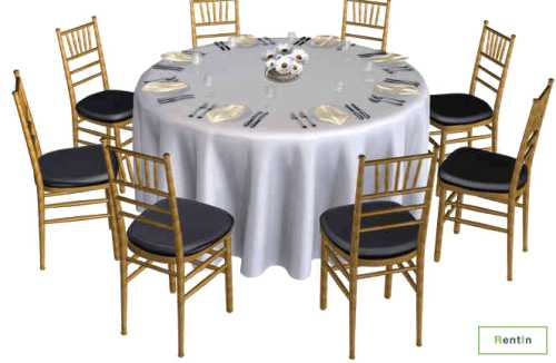 ROUND TABLE WITH WHITE COVER (6FT)