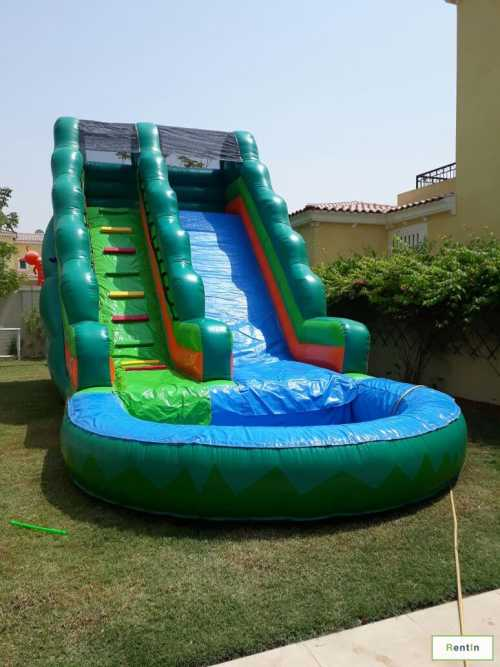 GREEN WATER SLIDE WITH POOL