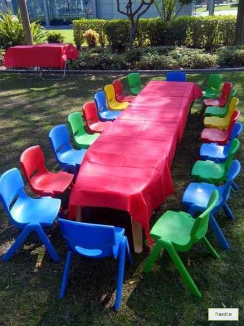 KIDS PLASTIC TABLES AND CHAIRS (BIRTHDAY PACKAGE)